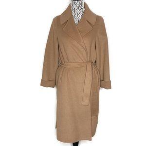 Zara camel tan wool blend wrap coat XS size